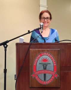 Julie Kohner, Founder and CEO of Voices of the Generations, speaking to almost 500 students at North Greenville University, South Carolina.